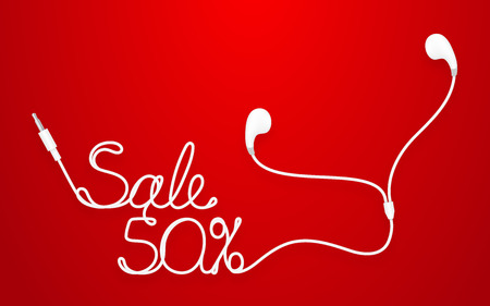 Earphones, Earbud type white color and Sale 50 percent text made from cable isolated on red gradient background, with copy space