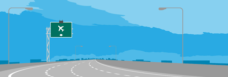 Highway or motorway bend and green signage with airport sign in daytime illustration isolated on blue sky background