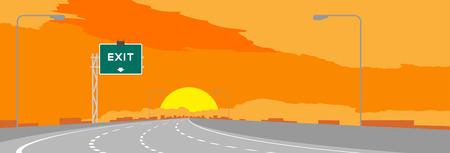Highway or motorway and green signage with Exit sign in sunrise, sunset time illustration on orange sky background Illustration