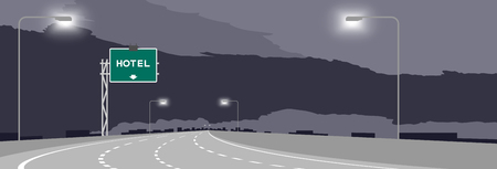 Highway or motorway and green signage with Hotel sign at nighttime illustration isolated on dark sky background Çizim