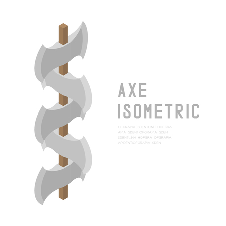 Axe 3D isometric virtual design illustration isolated on white background with Axe isometric text and copy space Vectores