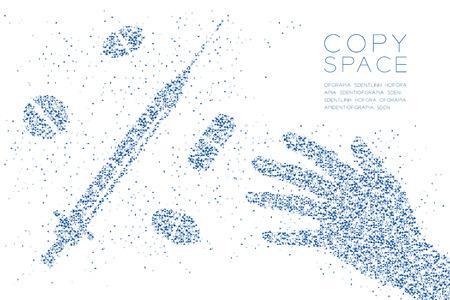 Abstrakte geometrische Polygonquadratbox und Dreieckmusterhand mit Spritze und Drogenform. Blaue Farbillustration des internationalen Tages gegen Drogenmissbrauchskonzeptentwurf auf weißem Hintergrund, Vektor. Standard-Bild - 98718996