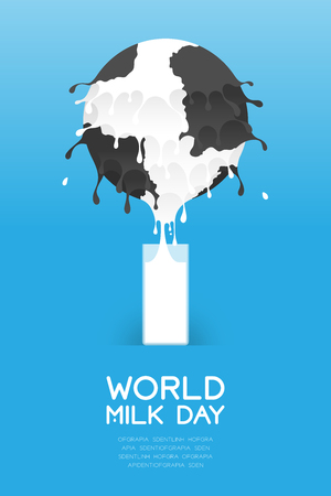World Milk day poster template with a splash world globe and a glass on a blue background Ilustração