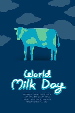 World Cow with cloud, World Milk Day concept flat design illustration isolated on dark blue background with copy space, vector.