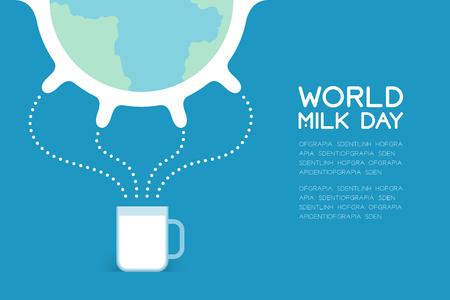 World Breast cow with milk in cup, World Milk Day concept flat design illustration isolated on blue background with copy space, vector eps 10 Illustration