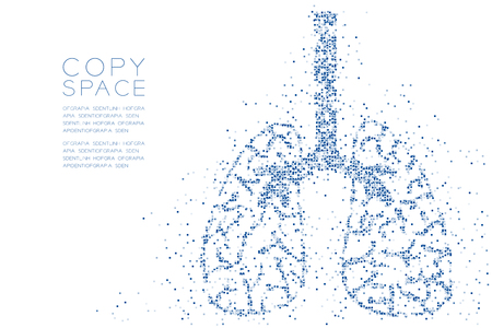 Abstract Geometric square box pattern Lung shape, Medical Science Organ concept design blue color illustration isolated on white background with copy space, vector eps 10 Vectores