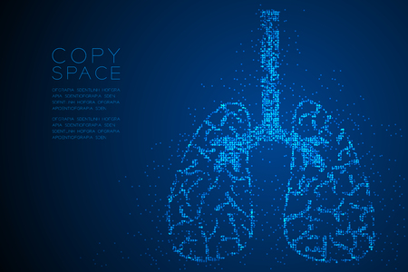 Abstract Geometric Circle dot pattern Lung shape, Medical Science Organ concept design blue color illustration isolated on blue gradient background with copy space, vector eps 10  イラスト・ベクター素材