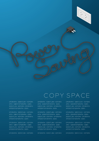 Power Saving text made from plug cable black color, Environment concept design illustration isolated on blue background, with copy space Illustration