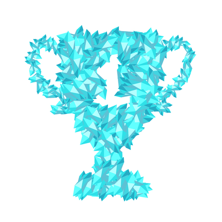 Number one Trophy Cup shape Crystal diamond 3D virtual set illustration Gemstone concept design blue color, isolated on white background, vector eps 10  イラスト・ベクター素材