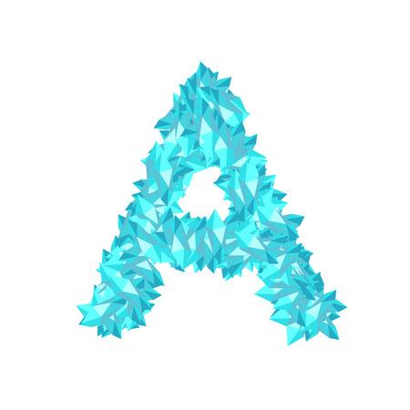 Alphabet Crystal diamond 3D virtual set letter A illustration Gemstone concept design blue color, isolated on white background, vector eps 10