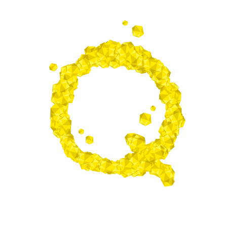 Alphabet Crystal diamond 3D virtual set letter Q illustration Gemstone concept design yellow color, isolated on white background, vector eps 10