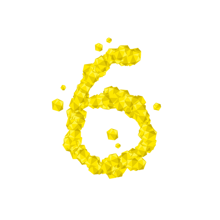 The letter number six or 6, in the alphabet Crystal diamond 3D virtual set illustration Gemstone concept design yellow color, isolated on white background, vector eps 10 Illustration