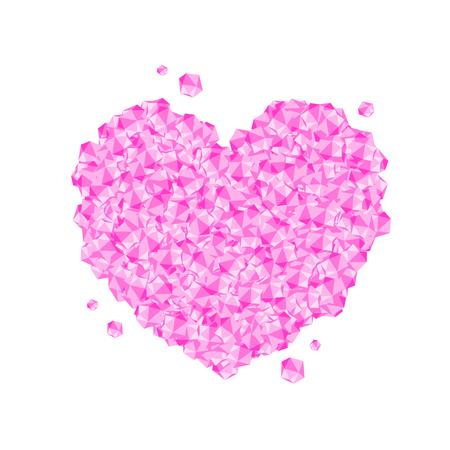 Love Heart symbol Crystal diamond 3D virtual set illustration Gemstone concept design pink color, isolated on white background, vector eps 10 Illustration