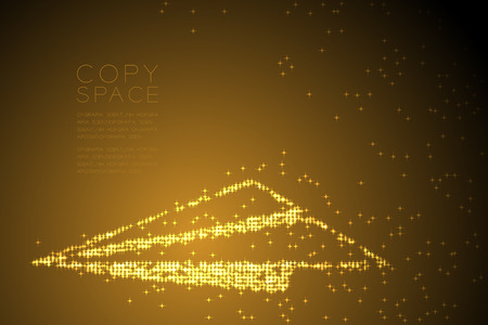 Abstract Shiny Star pattern Paper plane shape, business vision concept design gold color illustration isolated on brown gradient background with copy space, vector eps 10