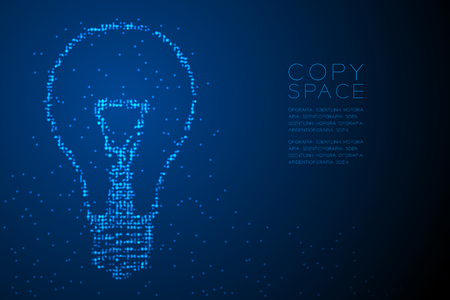 Abstract Geometric Circle dot pattern Incandescent light bulb shape, creative concept design blue color illustration isolated on blue gradient background with copy space, vector eps 10 Illustration