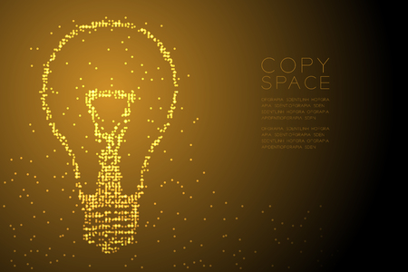 Abstract Geometric Circle dot pattern Incandescent light bulb shape, creative concept design gold color illustration isolated on brown gradient background with copy space, vector eps 10