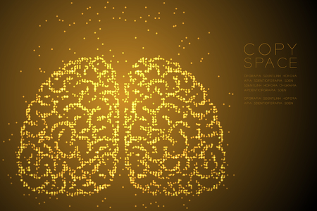 Abstract Geometric Circle dot pixel pattern Brain front view shape, creative science concept design gold color illustration isolated on brown gradient background with copy space