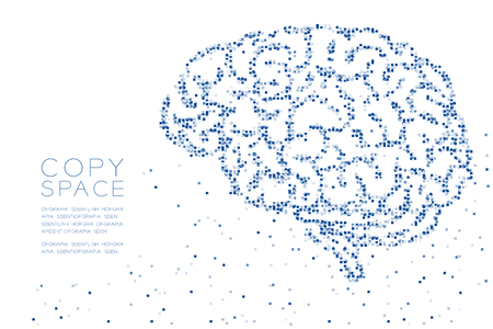 Abstract Geometric Square box pixel pattern Brain side view shape, creative science concept design blue color illustration on white background with copy space Illustration