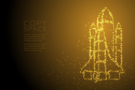 Abstract Geometric Circle dot pattern Rocket spaceship shape, space exploration concept design gold color illustration isolated on brown gradient background with copy space, vector eps 10