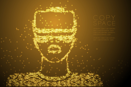 Abstract Shiny Star pattern Man wearing VR headset (virtual reality) shap design gold color illustration isolated on brown gradient background with copy space, vector eps 10