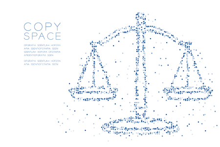 Abstract Geometric Circle dot pixel pattern Scales balance shape, judgment concept design blue color illustration on white background with copy space