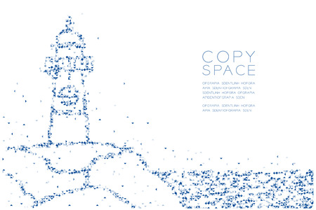 Abstract Geometric Low polygon square box pixel and Triangle pattern Lighthouse shape, aquatic and marine life concept design blue color illustration on white background with copy space