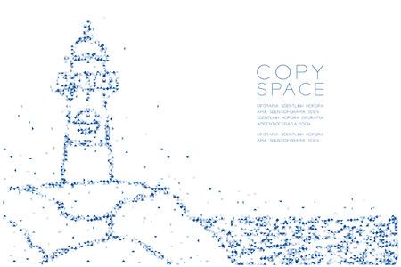 Pixel de caja cuadrada de polígono bajo geométrico abstracto y patrón de triángulo Forma de faro, diseño de concepto de vida acuática y marina ilustración de color azul sobre fondo blanco con espacio de copia