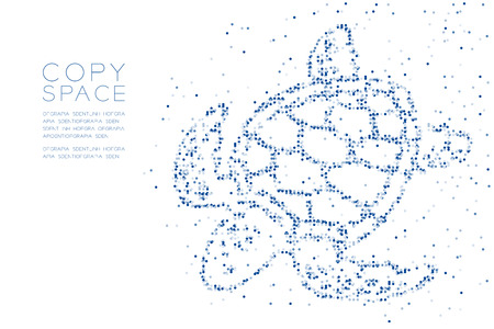 Abstract Geometric Circle dot pixel pattern Sea Turtle shape, aquatic and marine life concept design blue color illustration on white background with copy space