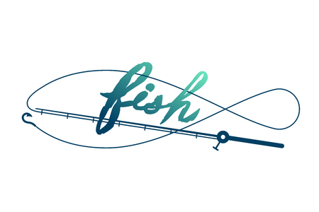 Fish shape made from Fishing rod frame, logo icon set design green and dark blue gradient color illustration isolated on white background with Fish text brush style and copy space
