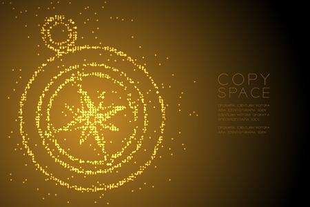 Abstract Geometric Circle dot pixel pattern Compass shape, travel concept design gold color illustration isolated on brown gradient background with copy space