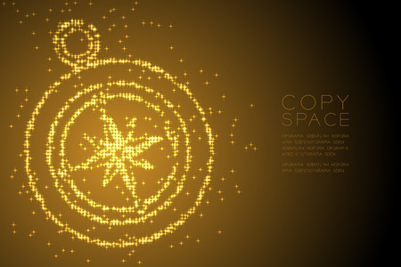 Abstract Shiny Star pattern Compass shape, travel concept design gold color illustration isolated on brown gradient background with copy space Illustration