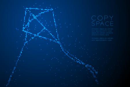 Círculo geométrico abstracto patrón de píxeles de puntos forma de cometa de diamante, ilustración de color azul de diseño de concepto de libertad aislado sobre fondo azul degradado con espacio de copia