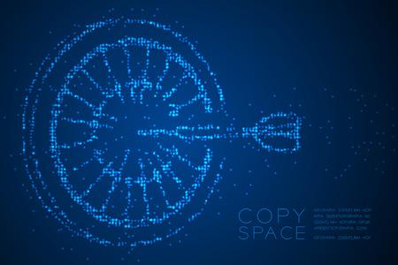 Forma de juego de tablero de dardos de patrón de píxeles de puntos de círculo geométrico abstracto, ilustración de color azul de diseño de concepto de éxito empresarial aislado sobre fondo azul degradado con espacio de copia