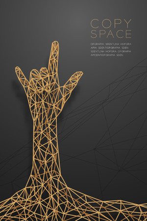 I love you Hand sign language shape front view wireframe Polygon golden frame structure, valentine concept design illustration isolated on black gradient background with copy space Çizim