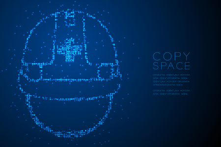 Abstract Geometric Bokeh circle dot pixel pattern Helmet construction shape, safety first concept design blue color illustration isolated on blue gradient background with copy space, vector Illustration