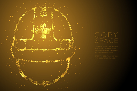 Abstract Geometric Bokeh circle dot pixel pattern Helmet construction shape, safety first concept design gold color illustration isolated on brown gradient background with copy space, vector