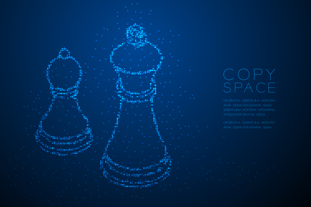 Abstract Geometric Bokeh circle dot pixel pattern Chess Queen and pawn shape, Business strategy concept design blue color illustration isolated on blue gradient background with copy space, vector