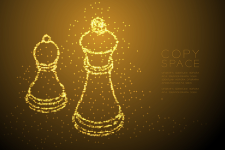 Abstract Shiny Bokeh star pattern Chess Queen and pawn shape, Business strategy concept design gold color illustration isolated on brown gradient background with copy space, vector Vettoriali