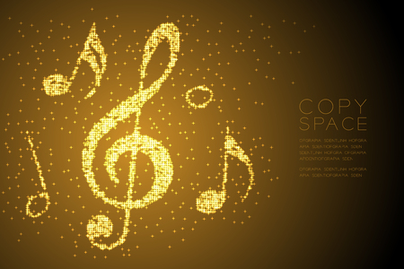 Abstract Shiny Bokeh star pattern Music note shape concept design gold color illustration isolated on brown gradient background with copy space, vector Çizim