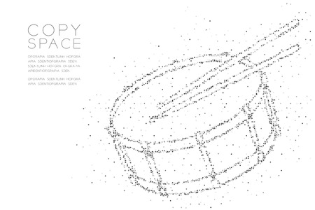 Abstract Geometric Circle dot pixel pattern Snare drum with drumstick shape, music concept design black color illustration on white background with copy space, vector
