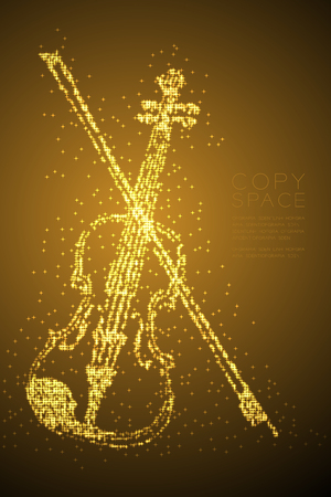 Abstract Shiny Bokeh star pattern Violin and bow shape, music concept design gold color illustration isolated on brown gradient background with copy space, vector