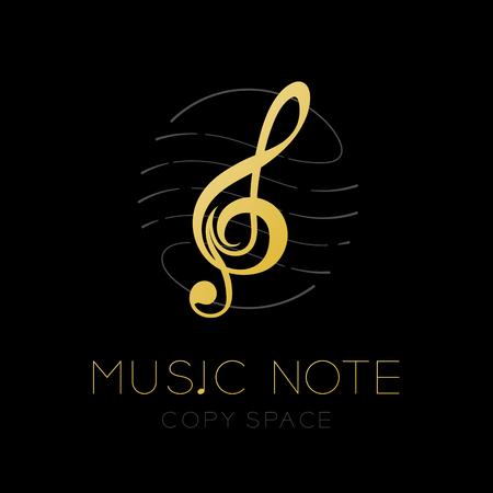 Nota musical color dorado con marco de forma de círculo de personal de línea de guión, ilustración de diseño de conjunto de iconos de logotipo aislado sobre fondo negro con espacio de texto y copia de nota musical Logos