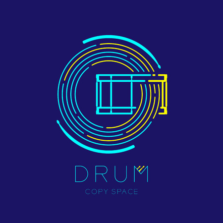 Snare drum, drumstick with line staff circle shape logo icon outline stroke set dash line design illustration isolated on dark blue background with drum text and copy space