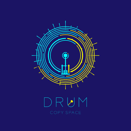 Bass drum, pedal with line staff circle shape logo icon outline stroke set dash line design illustration isolated on dark blue background with drum text and copy space