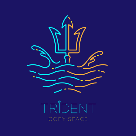 Trident, wave and water splash, logo icon outline stroke set dash line design illustration isolated on dark blue background with trident text and copy space