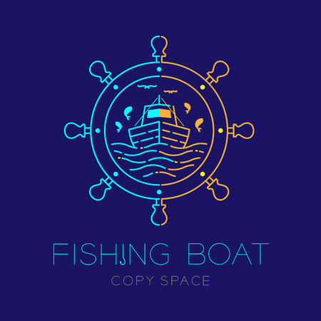 Fishing boat, fish, seagull, wave and Steering wheel circle frame shape logo icon outline stroke set dash line design illustration isolated on dark blue background with fishing boat text and copy space