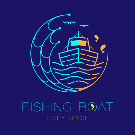 Fishing boat, fish, seagull, wave and Fishing net circle shape logo icon outline stroke set dash line design illustration isolated on dark blue background and copy space Illustration