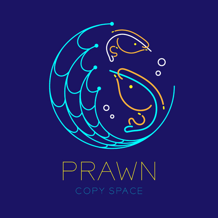 Prawn or shrimp, Fishing net circle shape and Air bubble logo icon outline stroke set dash line design illustration isolated on dark blue background with prawn text and copy space