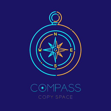 Compass logo icon outline stroke set dash line design illustration isolated on dark blue background with compass text and copy space