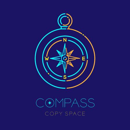 Bussola logo icona contorno tratto set dash line design illustrazione isolato su sfondo blu scuro con testo bussola e copia spazio